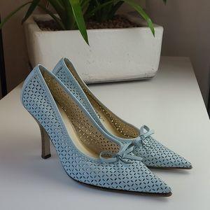 Vintage Leather Light Blue Woven Stilettos 💙